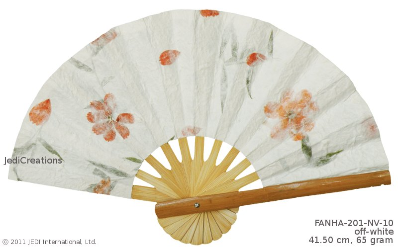 Off-White FANHA-201-NV-10 Wholesale Wedding Fans with Pressed Flowers, Manufacturer Artisans, Thailand
