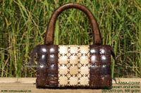 HABA-CO107 white-brown wholesale coconut handbag; manufacturer Thailand, exporter