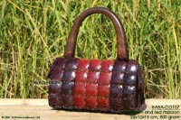 HABA-CO107 maroon-brown wholesale coconut handbag; manufacturer Thailand, exporter