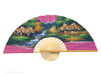 FULL VIEW: FANWA-GS114 - Hand Painted Asian Wall Fans - Wholesale, Manufacturer Artisans Thailand