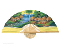FULL VIEW: FANWA-GS117 - Hand Painted Asian Wall Fans - Wholesale, Manufacturer Artisans Thailand
