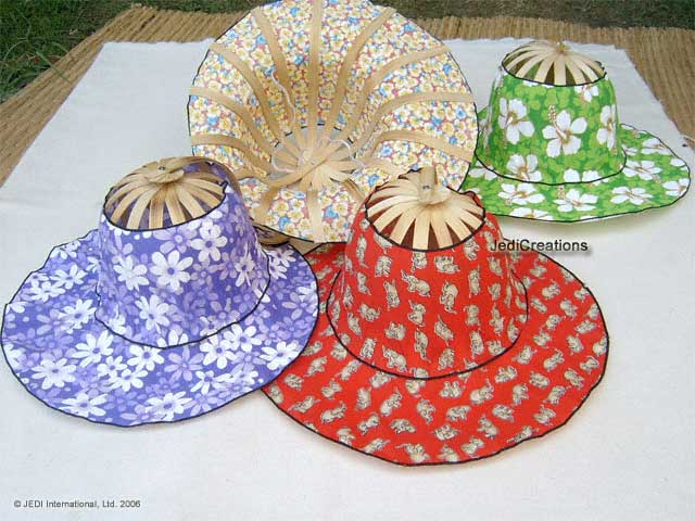 Folding Bamboo Hats - Beach Hats and Sun Hats HATFOL-101 - manufacturer exports, wholesale directly from Thailand
