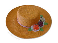 HATL-103 - Sisal Sun Hats: Ladies Wide Rim Sisal Hat, Flat Top, with Flowers, wholesale directly from Thailand