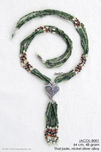 Jade Necklace on Handmade Jade Necklace Collier Jacol B001 With Heart Shaped Pendant