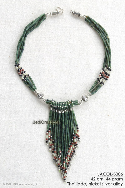 Handmade jade necklace collier JACOL-B006 with V shaped tassels, exporter wholesale directly from northern Thailand