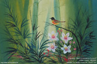 "Acrylic artist painting ""Bird in Bamboo Forest"" AWC-75x57-BB2001, exporter wholesale directly from northern Thailand"