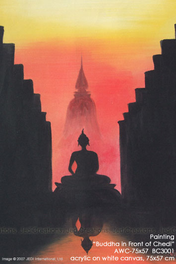 "Hand painted in acrylic ""Buddha in Front of Chedi"" AWC-75x57 BC3001, exporter wholesale directly from northern Thailand"