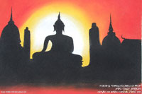 "Hand painted in acrylic ""Sitting Buddha at Wat"" AWC-75x57 BW3001, exporter wholesale directly from northern Thailand"