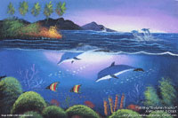 "Artist painting ""Dolphin-Tropic"" AWC-75x57 DS2001, exporter wholesale directly from northern Thailand"