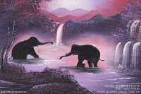"Acrylic painting ""Elephants in Pond"" AWC-75x57 EP4001, exporter wholesale directly from northern Thailand"