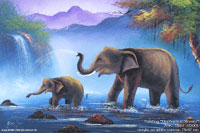 "Acrylic painting ""Elephants in Stream"" AWC-75x57 ES2001, exporter wholesale directly from northern Thailand"