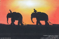 "Acrylic painting ""Elephants at Work"" AWC-75x57 EW3001, exporter wholesale directly from northern Thailand"