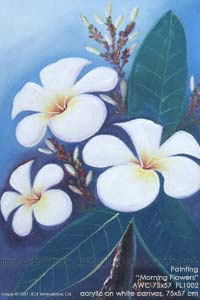 "Hand painted in acrylic ""Morning Flowers"" AWC-75x57 FL1002, exporter wholesale directly from northern Thailand"