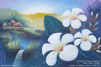 "Hand painted in acrylic ""Sunrise Flowers"" AWC-75x57 FS2001, exporter wholesale directly from northern Thailand"