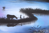 """Farmer and Karabau"" AWC-75x57 KF4001, acrylic paintings wholesale directly from northern Thailand"