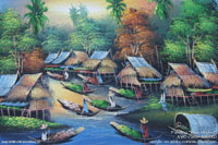 "Artist painting ""River-Market"" AWC-75x57 RM2003, exporter wholesale directly from northern Thailand"