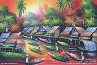 """River Market"" AWC-75x57 RM3001, acrylic paintings wholesale directly from northern Thailand"