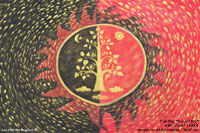 "Hand painted in acrylic ""Tree of Life"" AWC-75x57-TL0001, exporter wholesale directly from northern Thailand"
