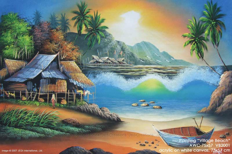 "Acrylic artist painting ""Village Beach"" AWC-75x57 VB2001, exporter wholesale directly from northern Thailand"