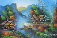 "Painting ""Village Valley"" AWC-75x57 VG2001, exporter wholesale directly from northern Thailand"