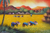 """Rice Harvest"" AWC-75x57 VR2001, wholesale acrylic paintings directly from northern Thailand"