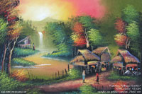 "Painting ""Village Sunrise"" AWC-75x57 VS1001, exporter wholesale directly from northern Thailand"