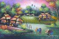 "Painting ""Bamboo Fishing"" AWC-75x57 VS1002, exporter wholesale directly from northern Thailand"