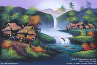 "Painting ""Lakeside Farmstead"" AWC-75x57 VS2002, exporter wholesale directly from northern Thailand"