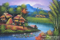 "Hand painted acrylic ""Streamside Farmstead"" AWC-75x57 VS2003, exporter wholesale directly from northern Thailand"