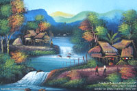 "Acrylic painting ""Lakeside Farmstead"" AWC-75x57 VS2004, exporter wholesale directly from northern Thailand"