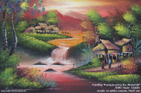 "Original painting ""Farmstead by the Waterfall"" AWC-75x57 VS3001,  manufacturer artisans direct exporter wholesale directly from northern Thailand"