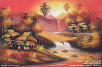 "Artist painting ""Sunset-Farmstead"" AWC-75x57 VS3002, wholesale directly from northern Thailand"