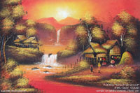 "Acrylic painting ""Sunset-Farmstead"" AWC-75x57 VS3003, exporter wholesale directly from northern Thailand"