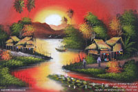 "Acrylic painting ""Farmstead at Lotus Stream"" AWC-75x57 VS3004, exporter wholesale directly from northern Thailand"