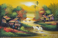 "Acrylic painting ""Lakeside Farmstead"" AWC-75x57 VS3005, exporter wholesale directly from northern Thailand"