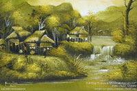"Original ""Lakeside Mountain Farmstead"" AWC-75x57 VS3006, exporter wholesale directly from northern Thailand"