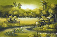 "Original ""Streamside Plateau Farmstead"" AWC-75x57 VS3007, wholesale acrylic paintings directly from northern Thailand"