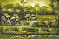 "Hand painted ""Foothills Farmstead"" AWC-75x57 VS3008, exporter wholesale directly from northern Thailand"