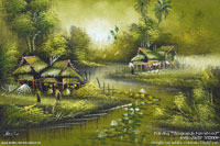 "Original ""Streamside Farmstead"" AWC-75x57 VS3009,wholesale acrylic paintings directly from northern Thailand"