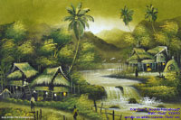 """Lakeside Farmstead"" AWC-75x57 VS3010, wholesale acrylic paintings directly from northern Thailand"
