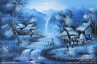 "Artist painting ""Early Night Farmstead"" AWC-75x57 VS4002, exporter wholesale directly from northern Thailand"