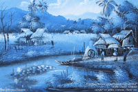 "Artis painting""Streamside Plateau Farmstead"" AWC-75x57 VS4003, exporter wholesale directly from northern Thailand"