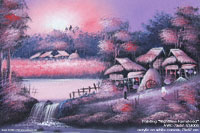 "Original ""Nighttime Farmstead"" AWC-75x57 VS4005, wholesale acrylic paintings directly from northern Thailand"