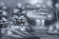 """Waterfall Farmstead at Midnight"" AWC-75x57 VS4007, exporter wholesale directly from northern Thailand"