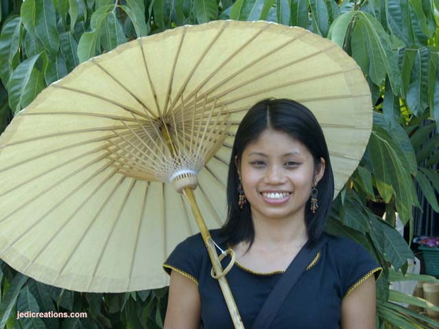 Cotton Waterproofed Handheld Parasols & Sun Umbrellas - manufacturer exports below wholesale directly from Thailand