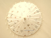 PARASA-241 Pressed Flowers in Off-White with tassels - Wholesale Paper Parasols - manufacturer, exporter directly from Thailand, JediCreations