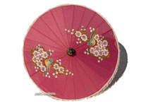 PARASA-402 Rayon Parasol, Artificial Silk Umbrella with tassels with flowers design motif - manufacturer, exporter, wholesale directly from Thailand, JediCreations