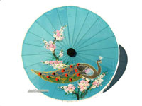 PARASA-403 Rayon Parasol, Artificial Silk Umbrella with tassels with peacock design motif - manufacturer, exporter, wholesale directly from Thailand, JediCreations