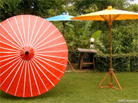 Thai Traditional Cotton Waterproof Bamboo Garden Parasols, Oiled Cotton Garden Umbrellas - Waterproof Cotton - PARASA-50X - wholesale from Thailand manufacturer