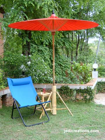 PARASA-501-200 Vermilion Bamboo Garden Umbrella with optional Bamboo Base, manufacturer wholesale, Thailand